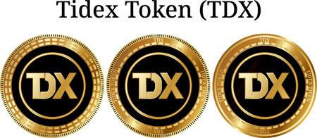 物理的なゴールデンコインタイドトークン(TDX)、デジタル暗号通貨のセット。タイドトークン (TDX) アイコンセット。白い背景に分離されたベクトル図。