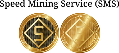Set of physical golden coin Speed Mining Service (SMS), digital cryptocurrency. Speed Mining Service (SMS) icon set. Vector illustration isolated on white background.
