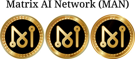 Set of physical golden coin Matrix AI Network (MAN), digital cryptocurrency. Matrix AI Network (MAN) icon set. Vector illustration isolated on white background.