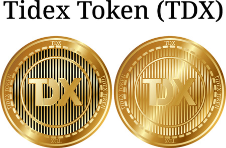Set of physical golden coin Tidex Token, digital cryptocurrency. Tidex Token icon set. Vector illustration isolated on white background.