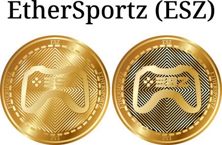 Set of physical golden coin EtherSportz, digital cryptocurrency. EtherSportz icon set. Vector illustration isolated on white background. Illustration