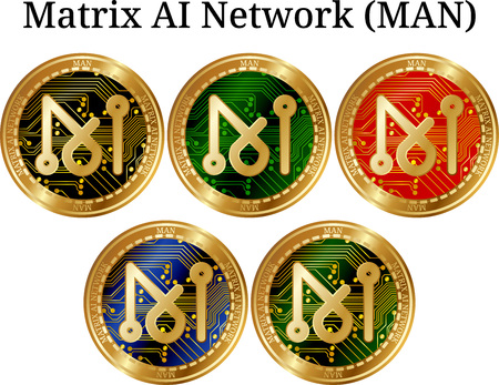 Set of physical golden coin Matrix AI Network, digital cryptocurrency. Matrix AI Network icon set. Vector illustration isolated on white background.