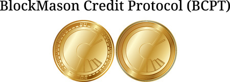 Set of physical golden coin BlockMason Credit Protocol (BCPT), digital cryptocurrency. BlockMason Credit Protocol (BCPT) icon set. Vector illustration isolated on white background. Illustration
