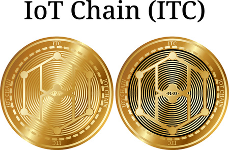 Set of physical golden coin IoT Chain (ITC), digital cryptocurrency. IoT Chain (ITC) icon set. Vector illustration isolated on white background. Illustration