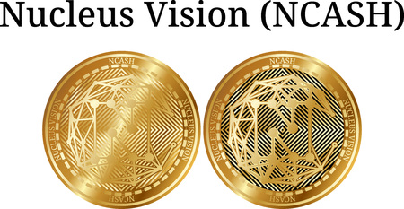 Set of physical golden coin Nucleus Vision (NCASH), digital cryptocurrency. Nucleus Vision (NCASH) icon set. Vector illustration isolated on white background. Vectores