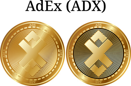 Set of physical golden coin AdEx (ADX), digital cryptocurrency. AdEx (ADX) icon set. Vector illustration isolated on white background.