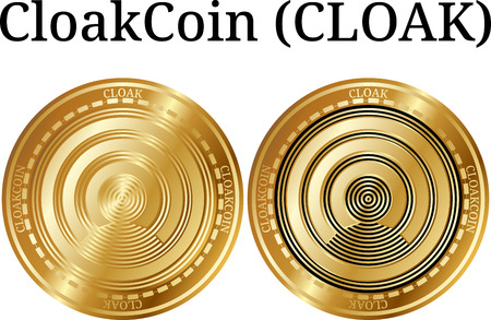 Set of physical golden coin CloakCoin (CLOAK), digital cryptocurrency. CloakCoin (CLOAK) icon set. Vector illustration isolated on white background. Çizim