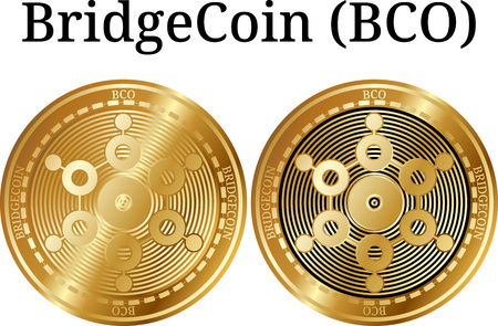 Set of physical golden coin BridgeCoin (BCO), digital cryptocurrency. BridgeCoin (BCO) icon set. Vector illustration isolated on white background.