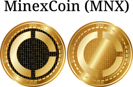 Set of physical golden coin MinexCoin (MNX), digital cryptocurrency. MinexCoin (MNX) icon set. Vector illustration isolated on white background.