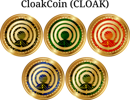 Set of physical golden coin CloakCoin (CLOAK), digital cryptocurrency. CloakCoin (CLOAK) icon set. Vector illustration isolated on white background. Иллюстрация