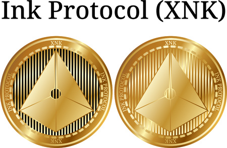 Set of physical golden coin ink protocol XNK digital cryptocurrency vector illustration