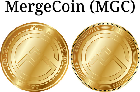 Set of physical golden coin MergeCoin (MGC), digital cryptocurrency. MergeCoin (MGC) icon set. Vector illustration isolated on white background.