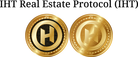 Set of physical golden coin IHT Real Estate Protocol (IHT), digital cryptocurrency. IHT Real Estate Protocol (IHT) icon set. Vector illustration isolated on white background.