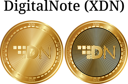 Set of physical golden coin DigitalNote (XDN), digital cryptocurrency. DigitalNote (XDN) icon set. Vector illustration isolated on white background.