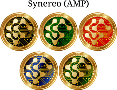 Set of physical golden coin Synereo (AMP), digital cryptocurrency. Synereo (AMP) icon set. Vector illustration isolated on white background. Illustration