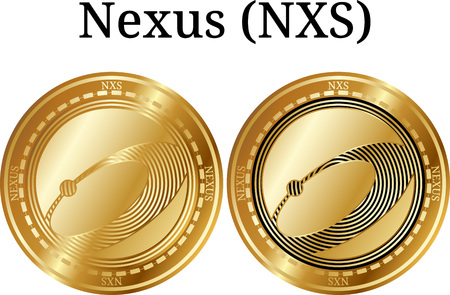 Set of physical golden coin Nexus (NXS), digital cryptocurrency. Nexus (NXS) icon set. Vector illustration isolated on white background. Illustration