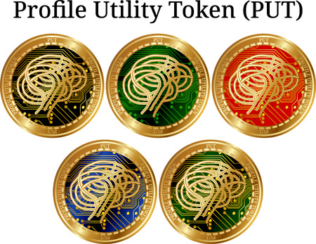 Set of physical golden coin Profile Utility Token (PUT), digital cryptocurrency. Profile Utility Token (PUT) icon set. Vector illustration isolated on white background.