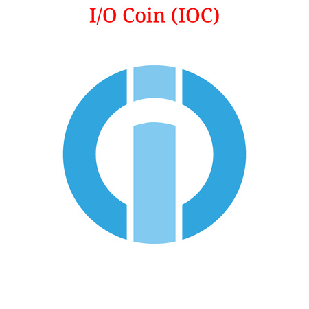Vector I-O Coin (IOC) digital cryptocurrency logo. I-O Coin (IOC) icon. Vector illustration isolated on white background. Ilustração