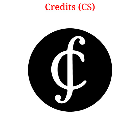 A Vector Credits (CS) digital cryptocurrency logo. Credits (CS) icon. Vector illustration isolated on white background. Logó