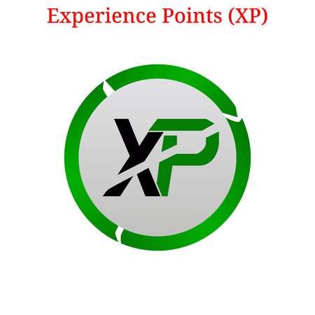 Vector Experience Points (XP) digital cryptocurrency logo. Experience Points (XP) icon. Vector illustration isolated on white background.