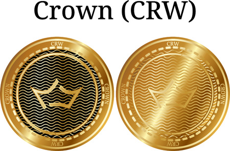 Set of physical golden coin crown (CRW), digital crypto-currency. Crown (CRW) icon set. Vector illustration isolated on white background.