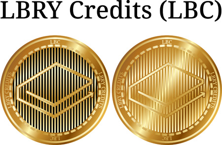 Set of physical golden coin LBRY Credits (LBC), digital cryptocurrency. LBRY Credits (LBC) icon set. Vector illustration isolated on white background.