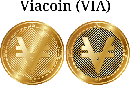 Set of physical golden coin Viacoin (VIA), digital cryptocurrency. Viacoin (VIA) icon set. Vector illustration isolated on white background. Illustration