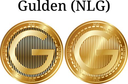 Set of physical golden coin Gulden (NLG), digital cryptocurrency. Gulden (NLG) icon set. Vector illustration isolated on white background.