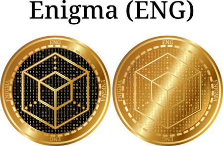 Set of physical golden coin Enigma, digital cryptocurrency. Enigma icon set. Vector illustration isolated on white background. Illustration