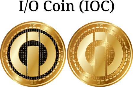 Set of physical golden coin I-O Coin, digital cryptocurrency. I-O Coin icon set. Vector illustration isolated on white background. Ilustração
