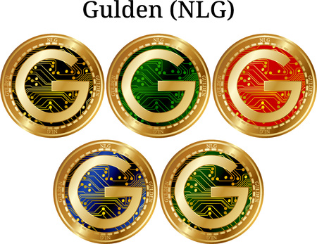 Set of physical golden coin Gulden, digital cryptocurrency. Gulden icon set. Vector illustration isolated on white background. Illustration
