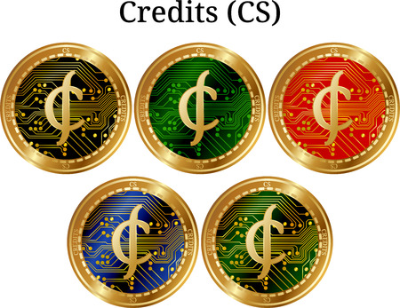 Set of physical golden coin Credits (CS), digital cryptocurrency. Credits (CS) icon set. Vector illustration isolated on white background.