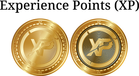 Set of physical golden coin Experience Points (XP), digital cryptocurrency. Experience Points (XP) icon set. Vector illustration isolated on white background.