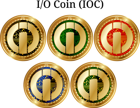Set of physical golden coin I-O Coin (IOC), digital cryptocurrency. I-O Coin (IOC) icon set. Vector illustration isolated on white background. Ilustração