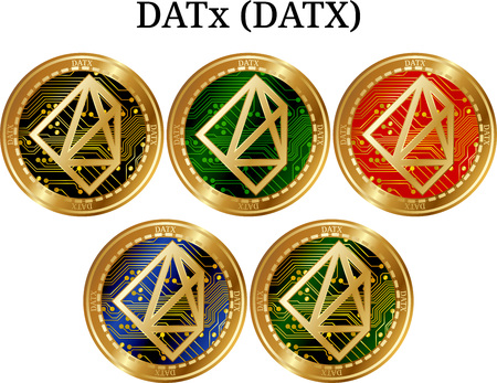 Set of physical golden coin DATx (DATX), digital cryptocurrency. DATx (DATX) icon set. Vector illustration isolated on white background.