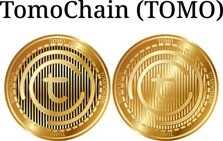 Set of physical golden coin TomoChain (TOMO), digital cryptocurrency. TomoChain (TOMO) icon set. Vector illustration isolated on white background. Ilustração