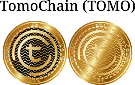 Set of physical golden coin TomoChain (TOMO), digital cryptocurrency. TomoChain (TOMO) icon set. Vector illustration isolated on white background. Illustration