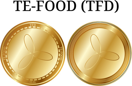 Set of physical golden coin TE-FOOD (TFD), digital cryptocurrency. TE-FOOD (TFD) icon set. Vector illustration isolated on white background.