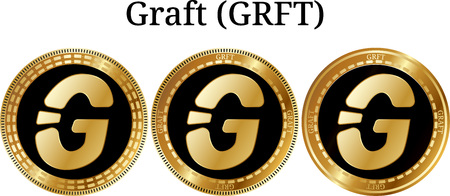 Set of physical golden coin Graft (GRFT), digital cryptocurrency. Graft (GRFT) icon set. Vector illustration isolated on white background.
