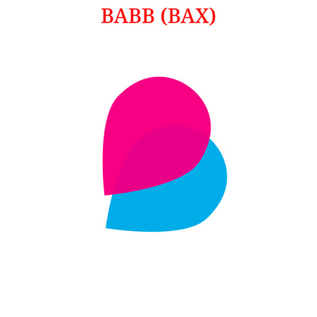 Vector BABB (BAX) digital cryptocurrency logo. BABB (BAX) icon. Vector illustration isolated on white background.  イラスト・ベクター素材