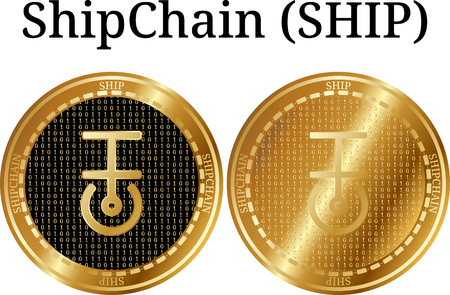 Set of physical golden coin ShipChain (SHIP), digital cryptocurrency. ShipChain (SHIP) icon set. Vector illustration isolated on white background. Imagens - 97045569