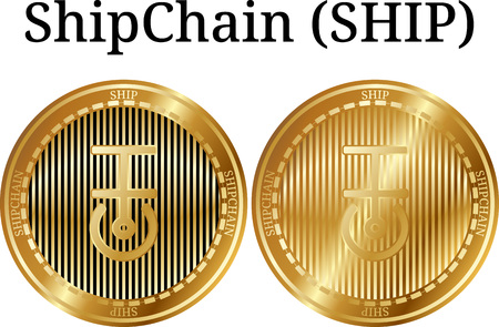 Set of physical golden coin ShipChain (SHIP), digital cryptocurrency. ShipChain (SHIP) icon set. Vector illustration isolated on white background. Vectores
