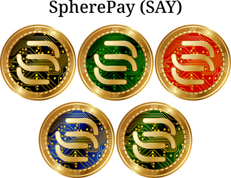 Set of physical golden coin SpherePay (SAY), digital cryptocurrency. SpherePay (SAY) icon set. Vector illustration isolated on white background. Vectores