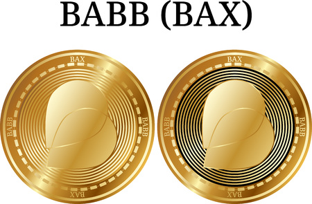 Set of physical golden coin BABB (BAX), digital cryptocurrency. BABB (BAX) icon set. Vector illustration isolated on white background.