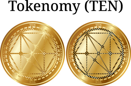 Set of physical golden coin Tokenomy (TEN), digital cryptocurrency. Tokenomy (TEN) icon set. Vector illustration isolated on white background.
