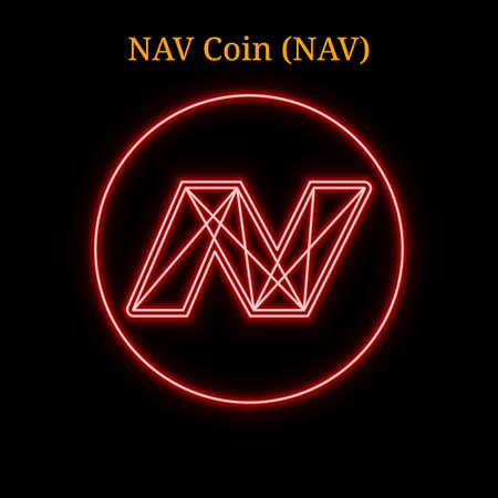 Red neon NAV Coin (NAV) cryptocurrency symbol. Vector illustration eps10 isolated on black background