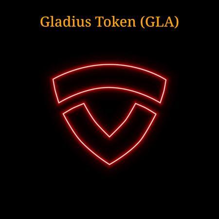 Red neon Gladius Token (GLA) cryptocurrency symbol. Vector illustration eps10 isolated on black background