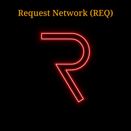 Red neon Request Network (REQ) cryptocurrency symbol. Vector illustration eps10 isolated on black background