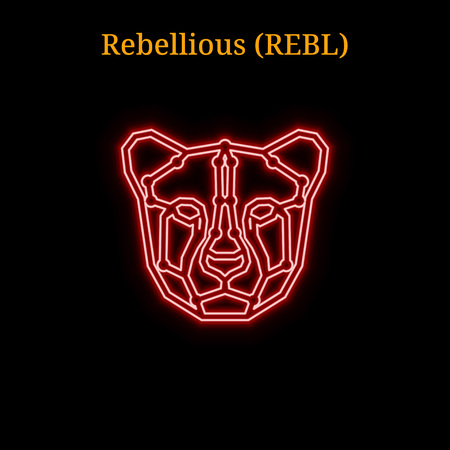 Red neon Rebellious (REBL) cryptocurrency symbol. Vector illustration eps10 isolated on black background 向量圖像