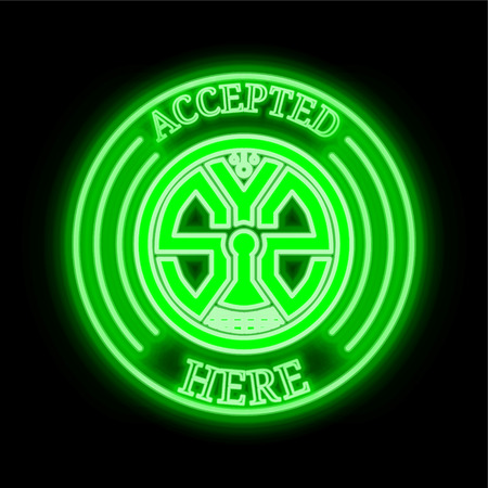 Syscoin  (SYS) green  neon cryptocurrency symbol in round frame with text Accepted here. Vector illustration isolated on black background Illustration